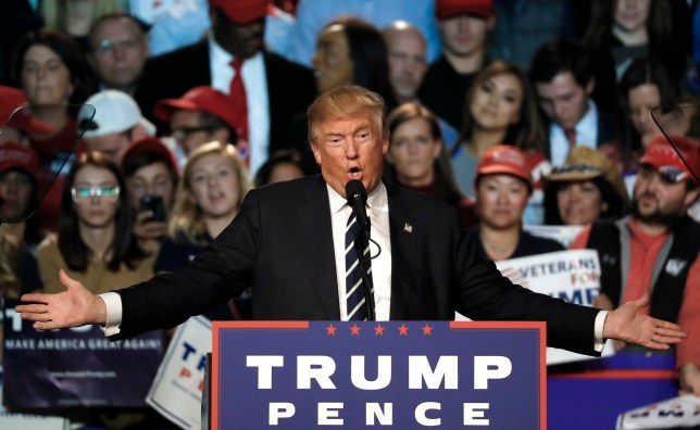 Republican presidential candidate Donald Trump speaks at a campaign rally in Grand Rapids, Mich., Tuesday, Nov. 8, 2016. (AP Photo/Paul Sancya)