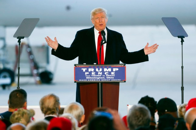 Republican presidential candidate Donald Trump speaks during a campaign rally, Friday, Nov. 4, 2016, in Wilmington, Ohio. (AP Photo/John Minchillo)