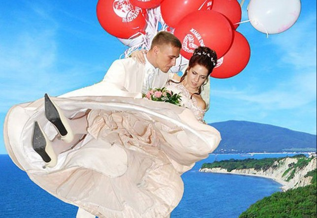 RUSSIAN couples - who use image manipulation software such as Photoshop to enhance their wedding photos - have been revealed in hilarious Internet gallery.