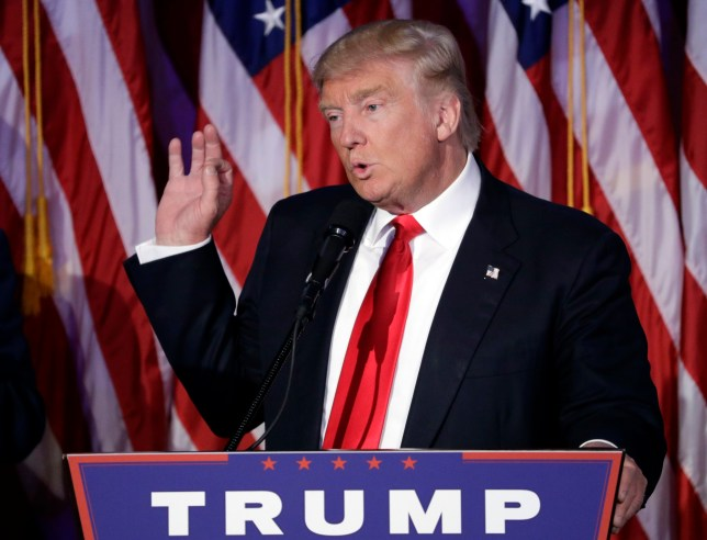 President-elect Donald Trump gives his acceptance speech during his election night rally, Wednesday, Nov. 9, 2016, in New York. (AP Photo/John Locher)
