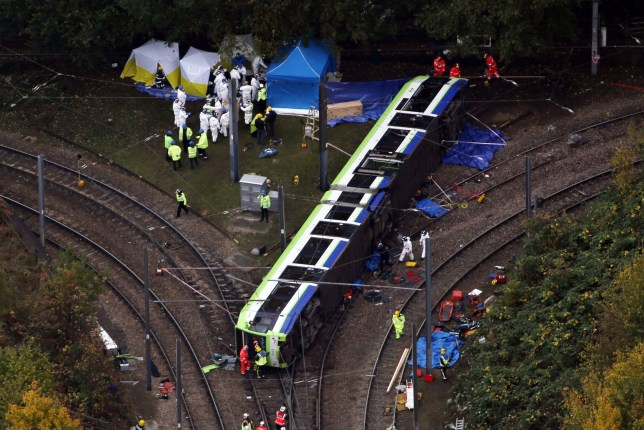 PIC SHOWS;Aerial pictures of the Tram crash in Croydon Today where it is believed that people were killed.