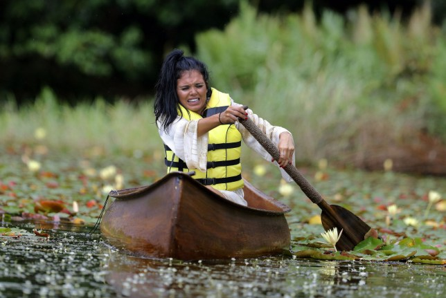 ***EMBARGO, NOT TO BE USED BEFORE 00:01, 13 Nov 2016 - EDITORIAL USE ONLY - NO MERCHANDISING*** Mandatory Credit: Photo by ITV/REX/Shutterstock (7431282bd) Scarlett Moffatt and Larry Lamb Head for the Jungle Camp But Must First Undertake the 'Cruel Canoe' Challenge...Scarlett had Never Canoed Before. 'I'm a Celebrity...Get Me Out of Here!' TV Show, Australia - 13 Nov 2016