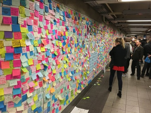 People have been leaving heartfelt messages on NY subway after Donald Trump's win