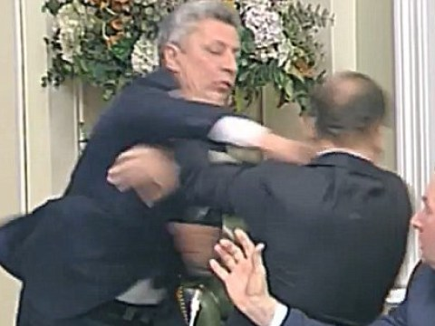 Fight breaks out between Ukrainian MPs in the middle of parliament