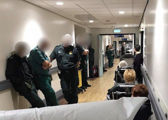 Queues inside Aintree Hospital as paramedics line up to hand over their patients to busy A&E staffnPicture: Liverpool Echo/Emma Satchell