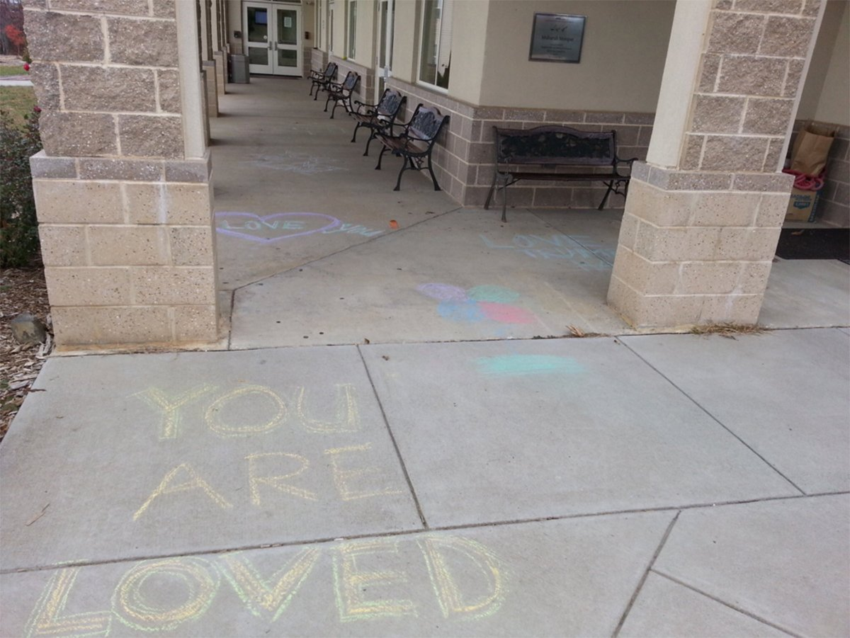 Mosque 'vandalised' with messages of love