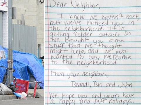 Couple write touching letter to homeless neighbour who lives in a tent