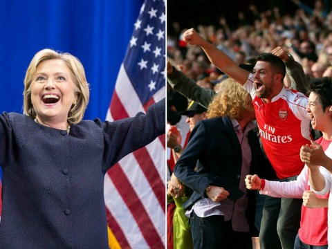 Hillary Clinton spotted getting Arsenal fans to influcence another vote…the US presidential election