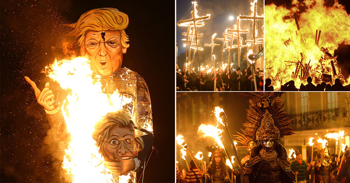 People burn massive bonfires around Britain for Guy Fawkes Night