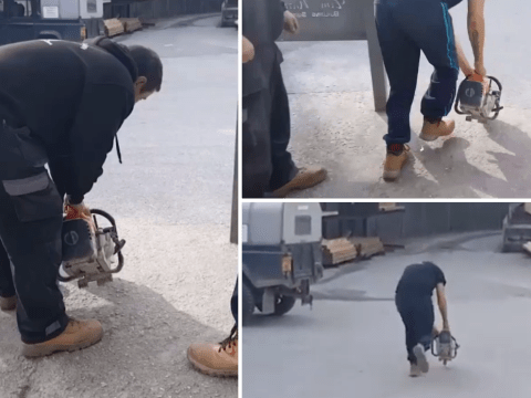 Trainee builder gets a very wrong lesson in how to jump start a chainsaw