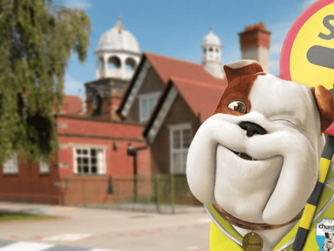 The Churchill Dog wants kids to get to school safely for National Lollipopper Day