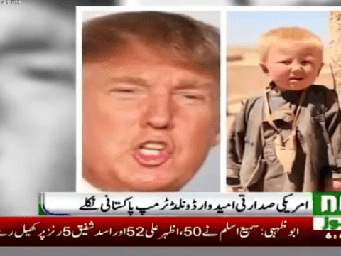 Conspiracy theorists claim Donald Trump is actually an orphan from Pakistan