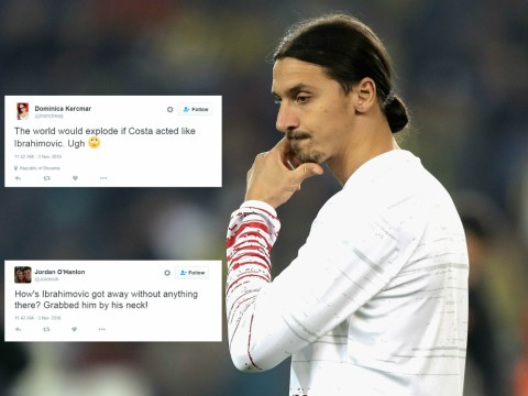 Football fans perplexed as to how Zlatan Ibrahimovic is not sent off for grabbing throat of Fenerbahce opponent