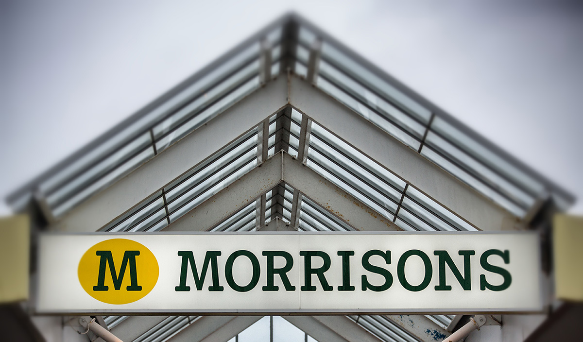 pic - getty BRISTOL, ENGLAND - NOVEMBER 18: (EDITORS NOTE: This image was created using digital filters) The Morrisons sign is displayed outside a branch of the supermarket on November 18, 2015 in Bristol, England. As the crucial Christmas retail period approaches, all the major supermarkets are becoming increasingly competitive to retain and increase their share of the market. (Photo by Matt Cardy/Getty Images)