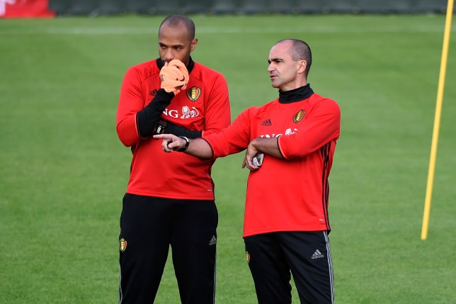 TUBIZE, BELGIUM - OCTOBER 3 : Thierry Henry ass. coach of Belgian Team, Roberto Martinez head coach of Belgian Team during training session as part of the preparation prior to the International Qualifying Match group H for the FIFA World Cup 2018 in Russia between Belgium and Bosnia Herzegovina on October 03, 2016 in Tubize, Belgium, 3/10/2016 ( Photo by Philippe Crochet / Photonews via Getty Images)