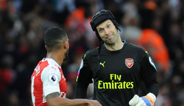 LONDON, ENGLAND - OCTOBER 15: (L-R) Arsenal's Theo Waloctt and Petr Cech after the Premier League match between Arsenal and Swansea City at Emirates Stadium on October 15, 2016 in London, England. (Photo by Stuart MacFarlane/Arsenal FC via Getty Images)