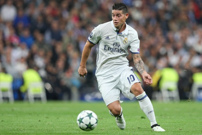 James Rodriguez of Real Madrid, during the UEFA Champions League football match Real Madrid CF vs Legia Legia Warszawa at the Santiago Bernabeu stadium in Madrid on October 18, 2016. (Photo by Foto Olimpik/NurPhoto via Getty Images)