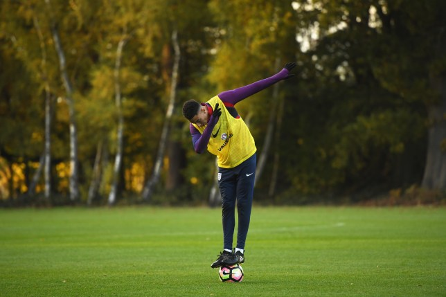WATFORD, ENGLAND - NOVEMBER 13: Jesse Lingard of England dabs after the England training session at The Grove on November 13, 2016 in Watford, England. (Photo by Michael Regan - The FA/The FA via Getty Images)