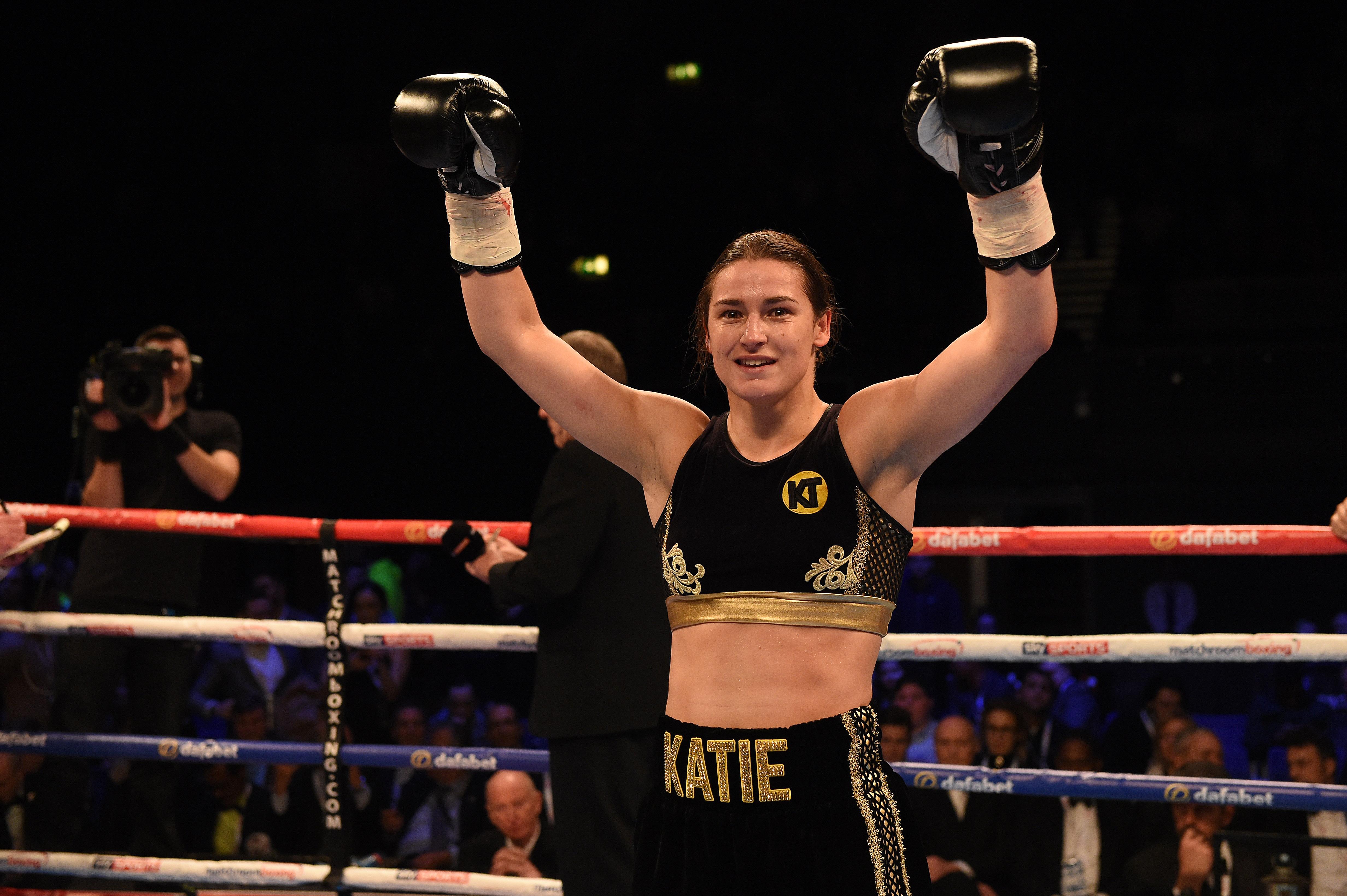 LONDON, ENGLAND - NOVEMBER 26: Katie Taylor defeats Karina Kopinska in a Lightweight contest at Wembley Arena on November 26, 2016 in London, England. (Photo by Leigh Dawney/Getty Images)