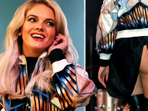 Louisa Johnson runs off stage after flashing her bare bum to fans at Christmas lights switch-on