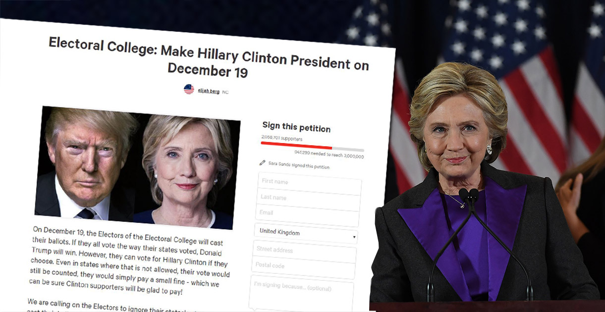 Two million people sign petition for Clinton to become president anyway