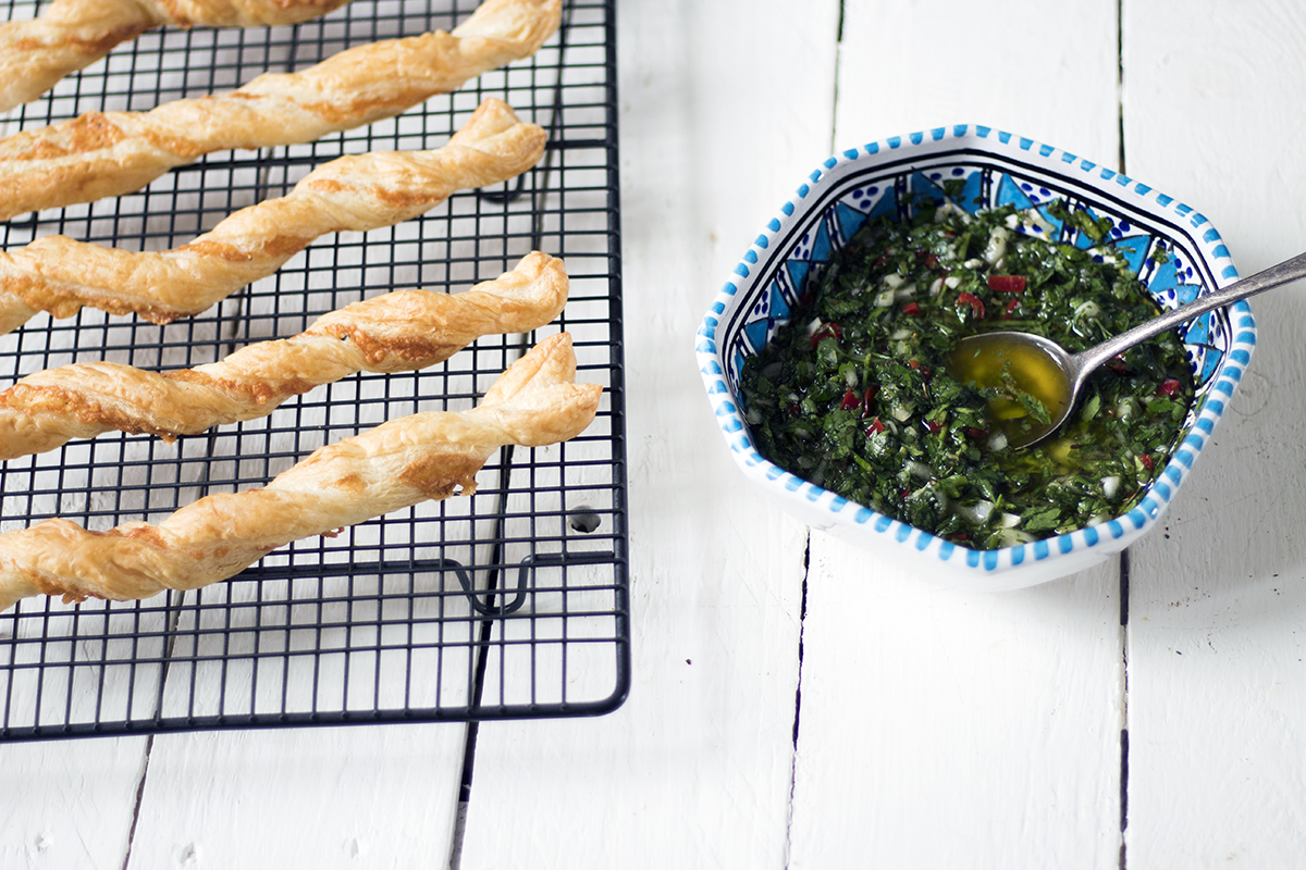 Christmas recipe video: Puff pastry cheese straws with a vegetarian chimichurri dip