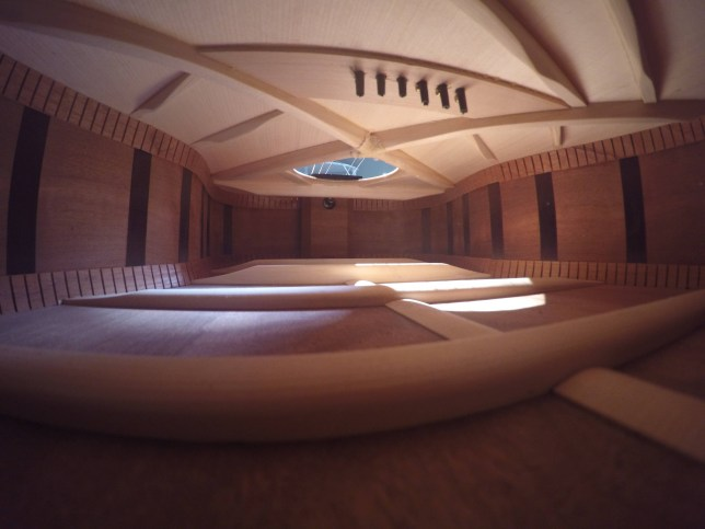 Inside of a guitar looks just like a luxury apartment