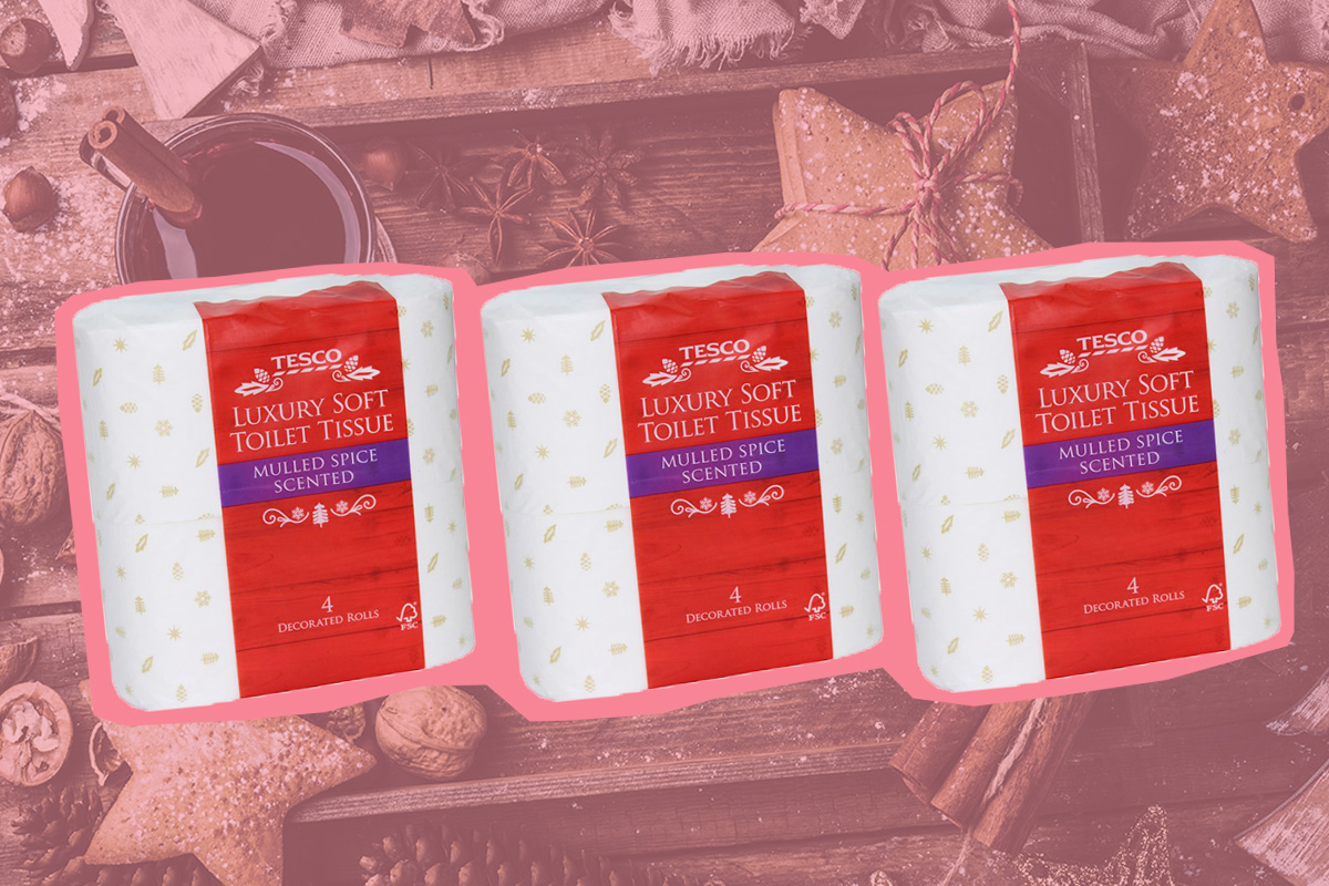 Tesco are selling mulled wine scented toilet roll for Christmas
