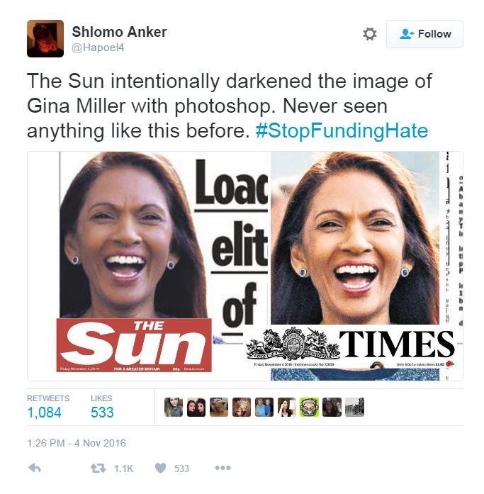 The Sun didn't actually darken Brexit challenger Gina Miller's skin