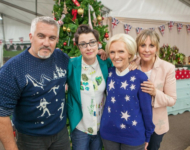 WARNING: Embargoed for publication until 00:00:01 on 22/11/2016 - Programme Name: The Great Christmas Bake Off - TX: n/a - Episode: n/a (No. n/a) - Picture Shows: EMBARGOED FOR PUBLICATION UNTIL TUESDAY 22ND NOVEMBER 2016 Paul Hollywood, Sue Perkins, Mary Berry, Mel Giedroyc - (C) Love Productions - Photographer: Mark Bourdillon