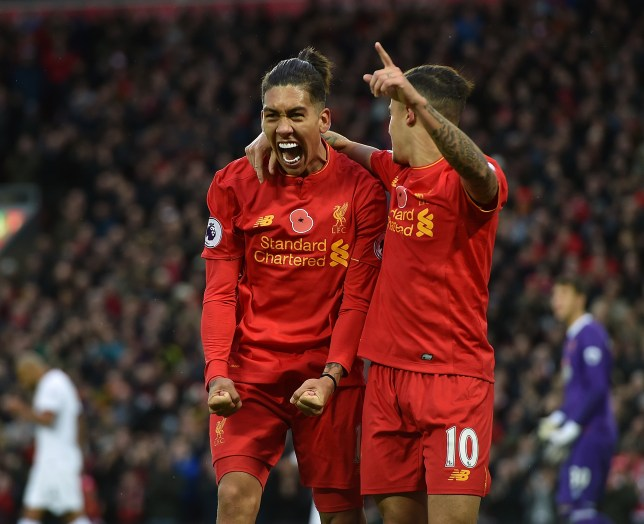 LIVERPOOL, ENGLAND - NOVEMBER 06: (THE SUN OUT, THE SUN ON SUNDAY OUT) Roberto Firmino of Liverpool celebrates after scoring during the Premier League match between Liverpool and Watford at Anfield on November 6, 2016 in Liverpool, England. (Photo by John Powell/Liverpool FC via Getty Images)