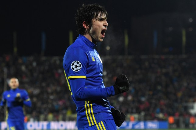 Rostov's Iranian forward Sardar Azmoun celebrates after scoring his team's first goal during the UEFA Champions League football match between FC Rostov and FC Bayern Munich at Rostov-on-Don's Olimp 2 stadium on November 23, 2016. / AFP / Kirill KUDRYAVTSEV        (Photo credit should read KIRILL KUDRYAVTSEV/AFP/Getty Images)