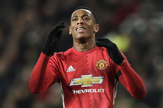 Manchester United's French striker Anthony Martial reacts after failing to score during the EFL (English Football League) Cup quarter-final football match between Manchester United and West Ham United at Old Trafford in Manchester, north west England, on November 30, 2016. / AFP / Oli SCARFF / RESTRICTED TO EDITORIAL USE. No use with unauthorized audio, video, data, fixture lists, club/league logos or 'live' services. Online in-match use limited to 75 images, no video emulation. No use in betting, games or single club/league/player publications.  /         (Photo credit should read OLI SCARFF/AFP/Getty Images)