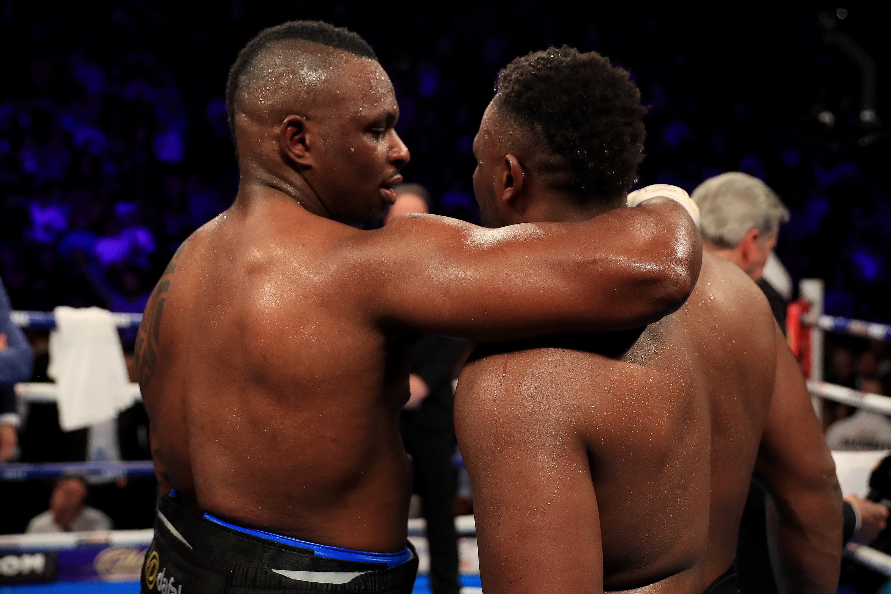 MANCHESTER, ENGLAND - DECEMBER 10: Dillian Whyte of Brixton (L) reacts to his victory over Dereck Chisora of Finchley during their WBC World Heavyweight Title Eliminator & WBC International Championship fight at Manchester Arena on December 10, 2016 in Manchester, England. (Photo by Richard Heathcote/Getty Images)