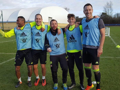 Chelsea legends Ashley Cole and Joe Cole join John Terry in five-a-side competition