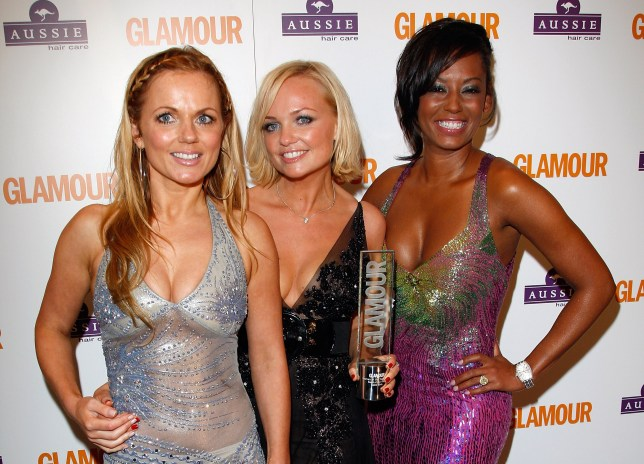 LONDON - JUNE 03: Spice Girls Geri Halliwell, Emma Bunton and Mel B with their award for Best Band during the Glamour Women Of The Year Awards held at Berkeley Square Gardens on June 3, 2008 in London, England. (Photo by Jon Furniss/WireImage)