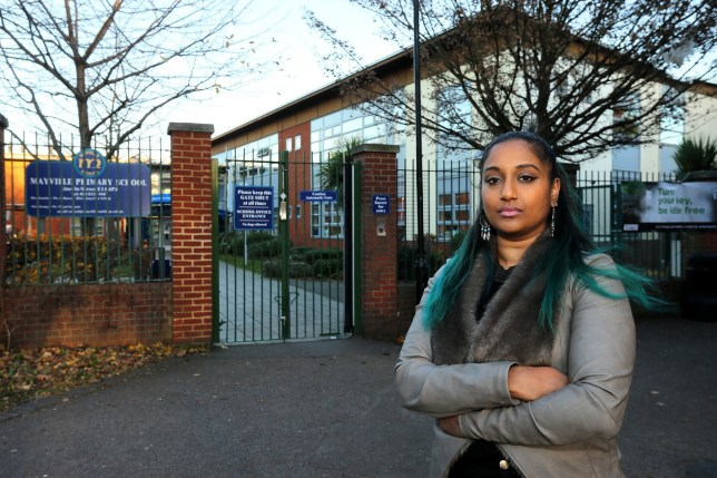Priscilla Terumalai outside Mayville Primary School, Lincoln St, Leytonstone. See National copy NNBUTT: A mum was hauled into a meeting with her daughter's school after the five-year-old laughed at her teacher's name - Miss Butt. Annalise Terumalai told her mother Priscilla that she could not stop giggling whenever she heard her teacher's comical name. Priscilla later met the teacher at a parents' council meeting at Mayville School in Leytonstone, east London.