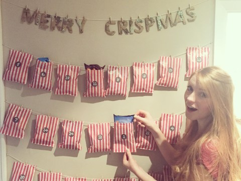 Woman is given a crisp advent calendar by her partner; wins at life