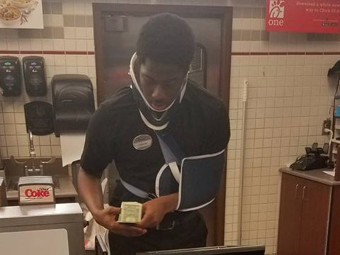 Customer shares the inspiring reason this employee was working in a neck brace