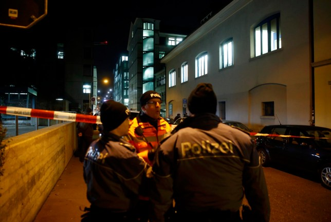 Police stand outside an Islamic center in central Zurich, Switzerland December 19, 2016. REUTERS/Arnd Wiegmann
