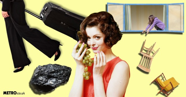 Person with suitcase, lump of coal, eating grapes, throwing furniture