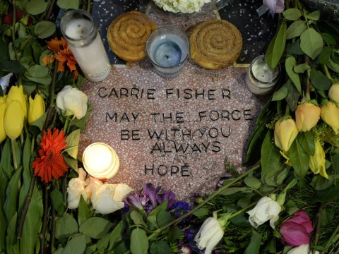 Walk Of Fame covered in flowers as Carrie Fisher fans create makeshift star