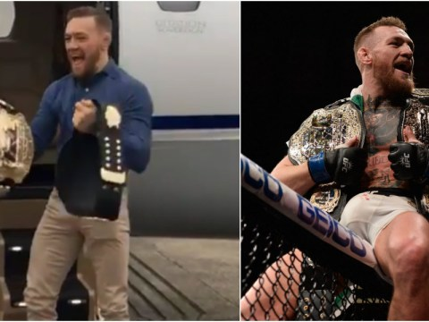 Watch: Conor McGregor shrugs off UFC featherweight decision by strutting around with his two belts