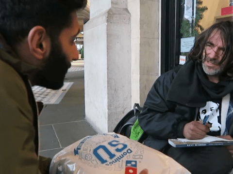 Muslim man hands out pizza to the homeless in Christmas feel-good video