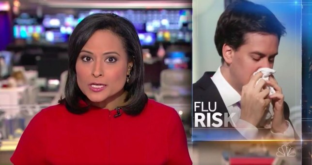 Miliband was used as a stock image on US TV (Picture: NBC)