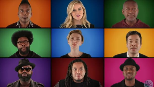 Jimmy Fallon recruits Reece Witherspoon, Scarlett Johanssen and Paul McCartney to sing A Wonderful Christmastime