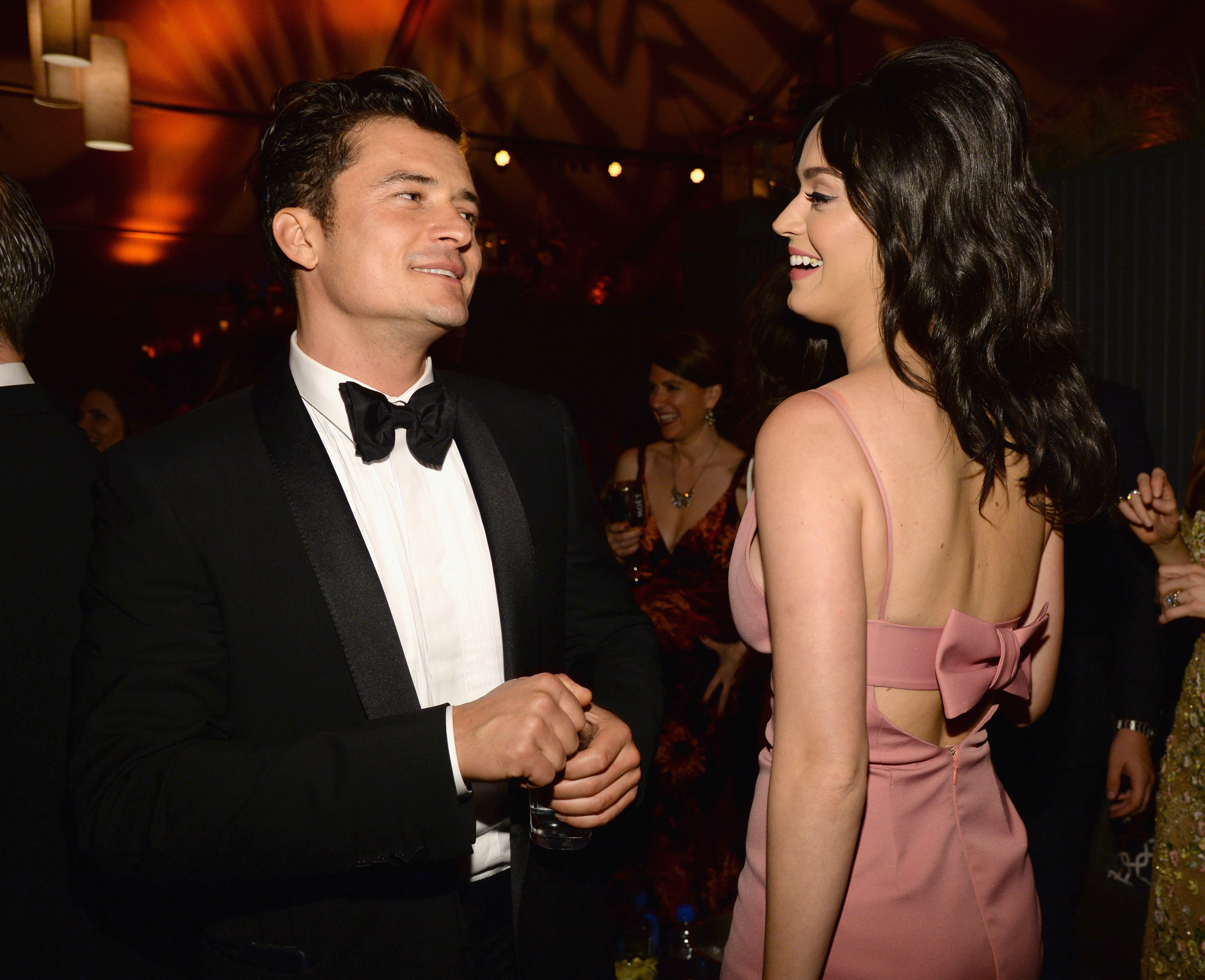 BEVERLY HILLS, CA - JANUARY 10: Orlando Bloom and Katy Perry attend The Weinstein Company and Netflix Golden Globe Party, presented with DeLeon Tequila, Laura Mercier, Lindt Chocolate, Marie Claire and Hearts On Fire at The Beverly Hilton Hotel on January 10, 2016 in Beverly Hills, California. (Photo by Kevin Mazur/Getty Images for The Weinstein Company)