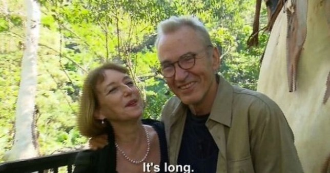 Larry Lamb was met by 'lover' Marie when he left I'm A Celebrity (Picture: ITV)