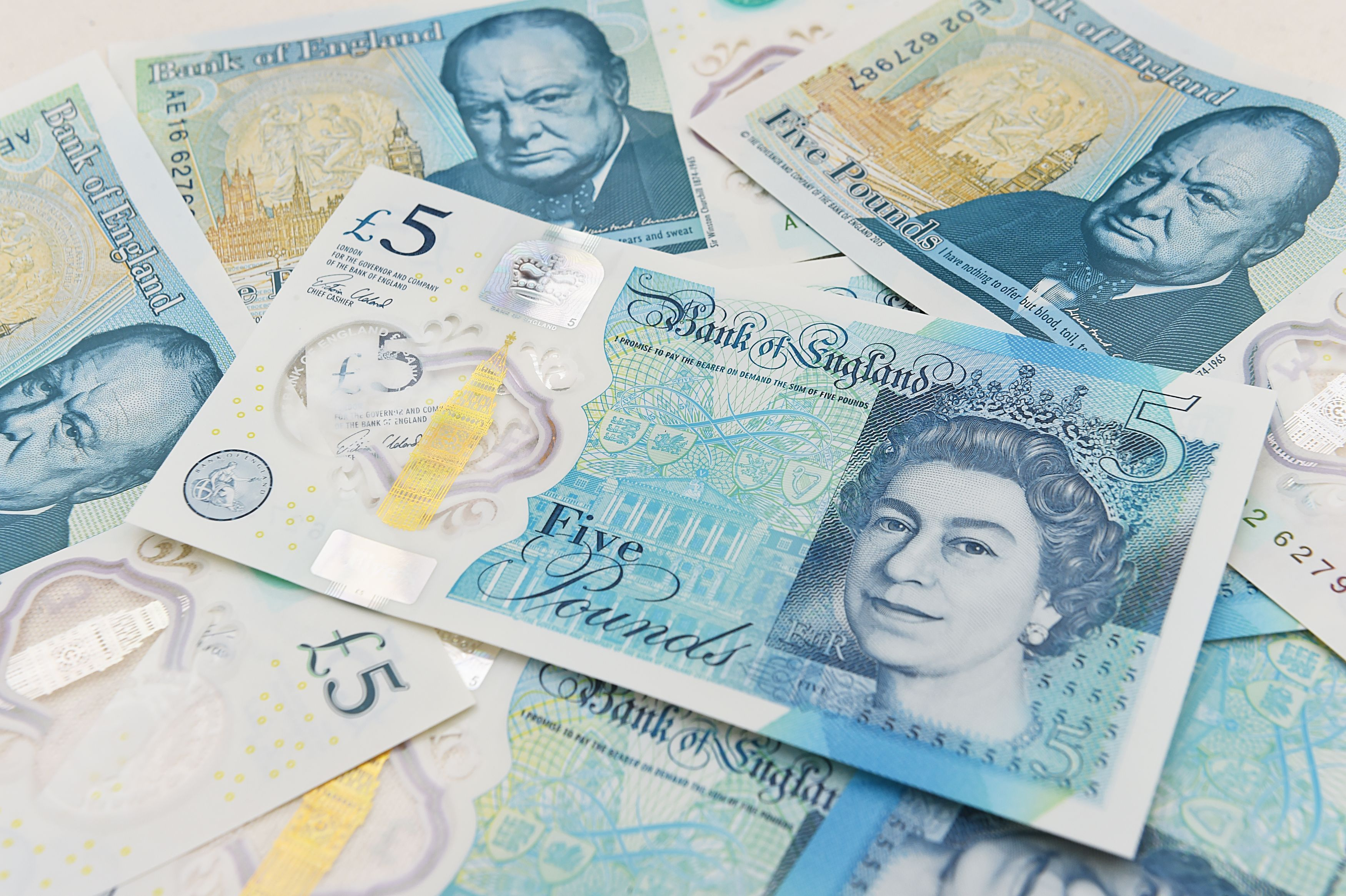 File photo dated 02/06/16 of the new polymer £5 note featuring Sir Winston Churchill, as former Smiths frontman Morrissey has hit out at the Bank of England over the animal fat content in the new note.