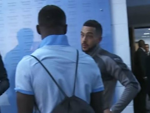 Theo Walcott heard talking to Bacary Sagna about Arsenal's second-half capitulation at Manchester City